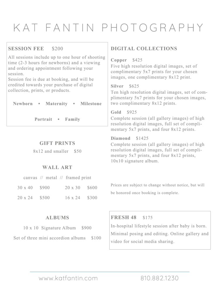 2020 detailed price list for Kat Fantin Photography