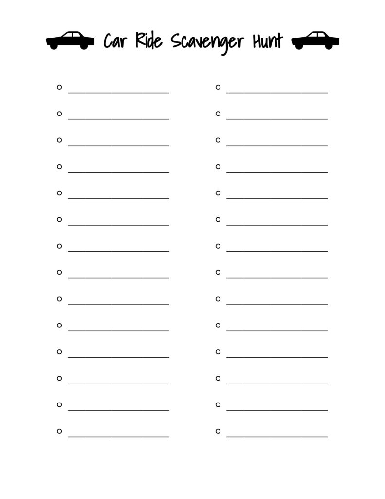 social distancing car ride scavenger hunt blank list with car clipart